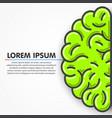 cartoon green left part human brain clean vector image vector image