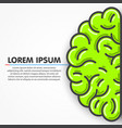 cartoon green left part of human brain clean vector image vector image