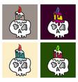 cartoon skull in style vector image
