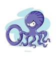 Cartoons Alphabet - Letter O with funny Octopus vector image