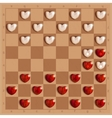 Checkers game with hearts detailed and relistic vector image