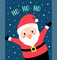 christmas card with santa claus and text ho ho ho vector image