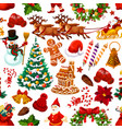 christmas seamless pattern of decorations vector image