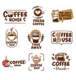 coffee house emblems and labels with cups vector image