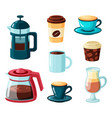 coffee mugs collection in cartoon style vector image vector image