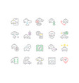 collection linear icons taxi services vector image vector image