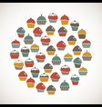Colorful cupcakes icons vector image