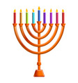 colorful menorah candle icon cartoon style vector image