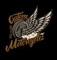 custom motorcycles racer winged wheel design vector image vector image