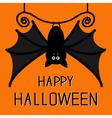Cute hanging bat Happy Halloween card Flat design vector image vector image