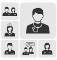 doctor icons set black vector image vector image