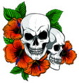 embroidery skull and red roses dia de muertos vector image vector image