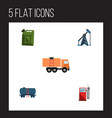 flat icon petrol set of fuel canister rig petrol vector image vector image