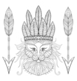 Fluffy Cat with wa rbonnet arrows in zentangle vector image vector image