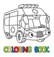 funny small ambulance car with eyes coloring book vector image