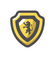 gold shield with lion icon cartoon vector image
