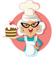 grandmother holding cake cartoon vector image