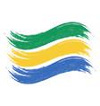grunge brush stroke with national flag of gabon vector image vector image