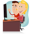 happy mom and dad working on desktop computer vector image vector image