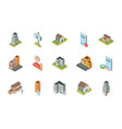 isometric buildings real estate location icons set vector image vector image