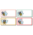 Label design with bees flying vector image vector image