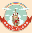 Logo design with castle and rainbow vector image vector image
