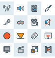 media icons colored line set with cinema camera vector image