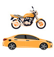 motorcycle and car isolated vector image