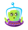 naive and surprised green alien in a flying saucer vector image vector image