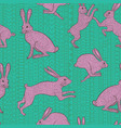 pink bunnies on green background seamless pattern vector image