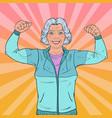 pop art senior mature woman showing muscles vector image vector image