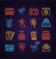 Protest action neon light icon