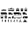 road transport and transportation icons vector image
