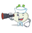 sailor with binocular turnip mascot cartoon style vector image vector image