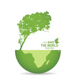 Save the world poster design template with globe vector image vector image