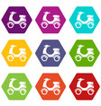 scooter icons set 9 vector image vector image