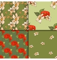 Seamless floral pattern set with peonies vector image