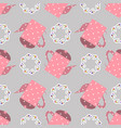 seamless pattern with floral wreaths and pink vector image