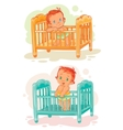 Set of babies are in their beds vector image vector image