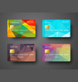 Set of templates of a credit debit bank card