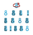 sheet of sprites rotation of cartoon 3d number 8 vector image