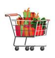 shopping cart with present box banner vector image vector image