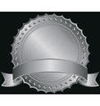 Silver blank label with silver ribbon vector image vector image