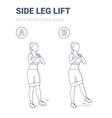 standing side leg lifts with resistance band girl vector image vector image