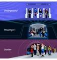 Subway passengers flat banners set vector image vector image