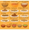 Vedic Indian cuisine set of vegetarian healthy vector image