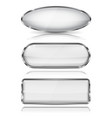 white glass buttons with chrome frame geometric vector image vector image