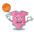 with basketball character baby clothes hanging on vector image