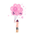 woman holding pink air balloons happy women day 8 vector image