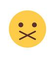 yellow cartoon face silent shocked emoji people vector image vector image